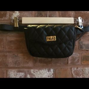 Black Quilted Black Belted Fanny Pack Purse
